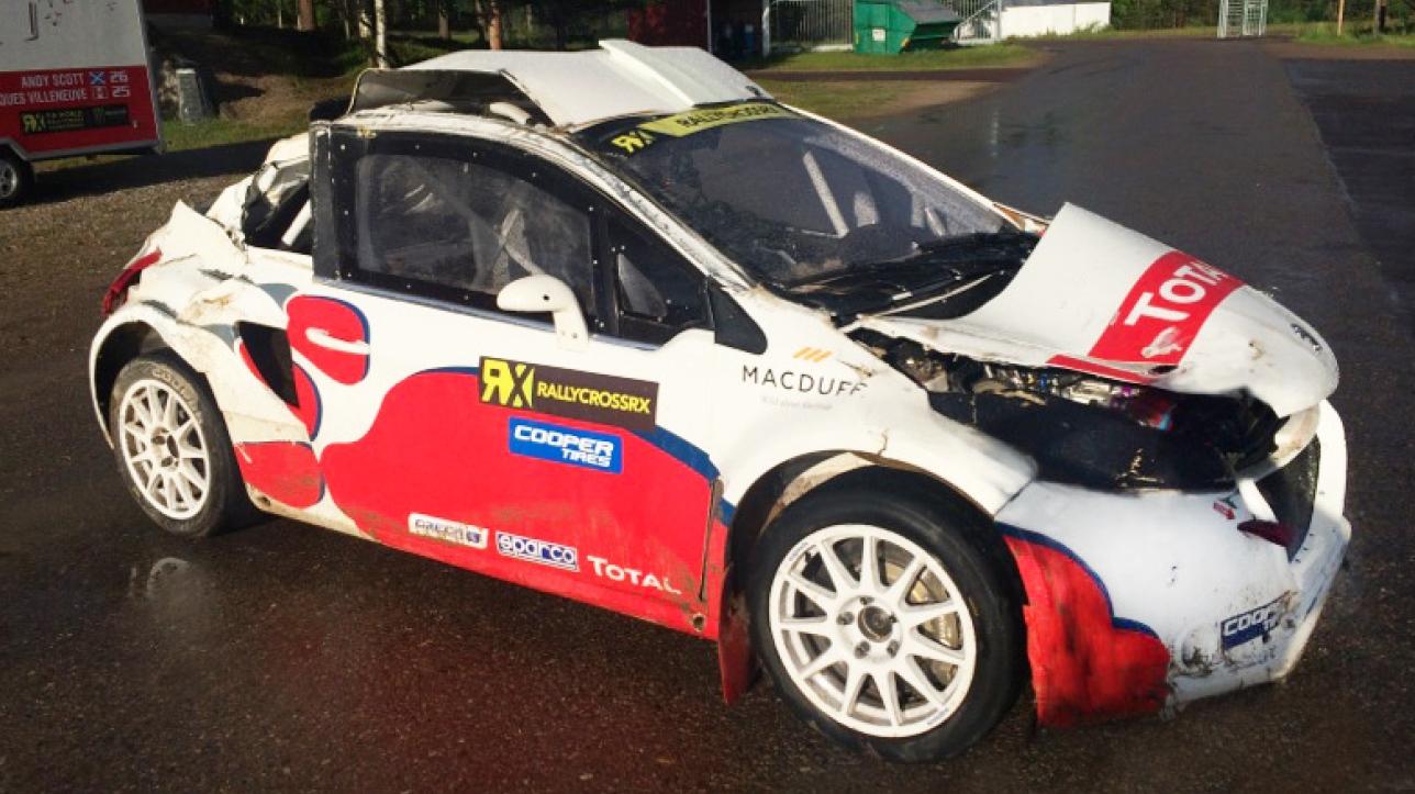 rallycross jacques villeneuve revient sur son accident en piste en norv ge. Black Bedroom Furniture Sets. Home Design Ideas