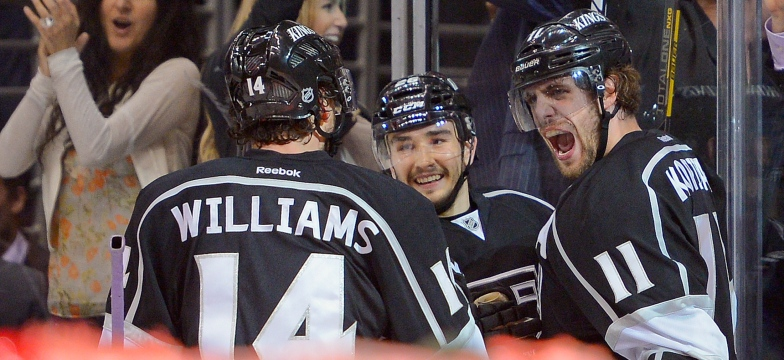 Anze Kopitar, Justin Williams et Slava Voynov